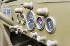 Tablero de instrumentos del vehículo militar Imagen de archivo