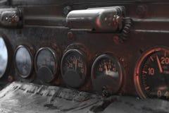 Tablero de instrumentos viejo del coche Foto de archivo