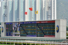 Tablero de la cuenta en campo de la carrera de caballos de Hong-Kong Shatian Fotografía de archivo libre de regalías