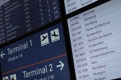 Tablero de la información del vuelo Fotos de archivo libres de regalías
