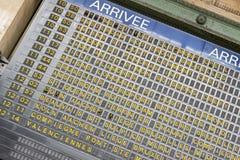 Tablero de la llegada - Gare du Nord, París fotografía de archivo libre de regalías