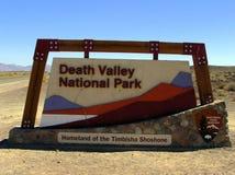 Tablero de la muestra del parque nacional de Death Valley Imagenes de archivo