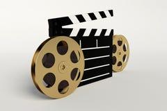 Tablero de la película y de la palmada, icono video Imagen de archivo libre de regalías