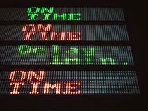 Tablero de la señalización del transporte en tiempo y retraso fotografía de archivo libre de regalías