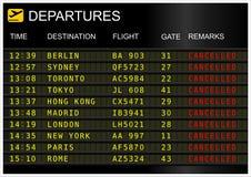 Tablero de las salidas del vuelo Fotografía de archivo libre de regalías