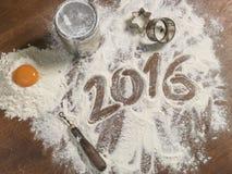 Tablero de los pasteles de la abuela con el subtítulo 2016 Fotos de archivo