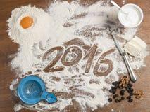 Tablero de los pasteles de la abuela con el subtítulo 2016 Foto de archivo libre de regalías