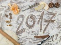Tablero de los pasteles de las abuelas con el subtítulo 2017 Imágenes de archivo libres de regalías