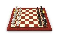 Tablero de los pedazos de ajedrez. Todos los pedazos en la posición de salida Fotografía de archivo