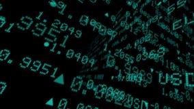 Tablero de los teletipos de los datos del mercado de acción almacen de video