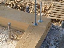 Tablero de madera con dos tornillos Imágenes de archivo libres de regalías