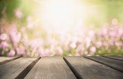Tablero de madera con Erica Flower Field As Background, Bokeh foto de archivo libre de regalías