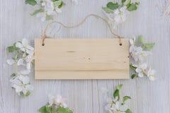 Tablero de madera con las flores de la manzana alrededor Imágenes de archivo libres de regalías