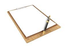 Tablero de madera con los papeles en blanco y bolígrafo con el espacio de la copia para la mofa para arriba aislado en el fondo b Fotos de archivo