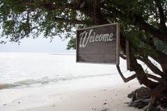Tablero de madera con una palabra 'recepción 'en una playa tropical imagenes de archivo