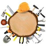 Tablero de madera de la construcción del vector con las herramientas Fotos de archivo libres de regalías