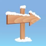 Tablero de madera de la flecha del invierno Imágenes de archivo libres de regalías