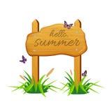 Tablero de madera de la muestra con hola, texto del verano ilustración del vector