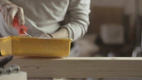 Tablero de madera largo del barniz de la pintura del carpintero por el cepillo, rodillo fabricante almacen de video