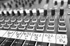 Tablero de mezcla audio Imagen de archivo