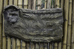 Tablero de publicidad en blanco con la cara del mono Foto de archivo