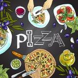 Tablero de tiza con la comida italiana Foto de archivo libre de regalías