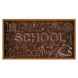 Tablero de tiza de la escuela Sistema de garabatos de la escuela en marrón Fotos de archivo