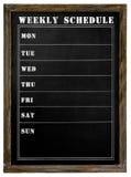 Tablero de tiza semanal de Shedule Foto de archivo libre de regalías