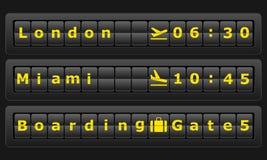 Tablero del aeropuerto con las ciudades Londres, Miami Imagen de archivo libre de regalías