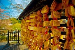 Tablero del AME en el templo de Kiyomizu-Dera Imagenes de archivo