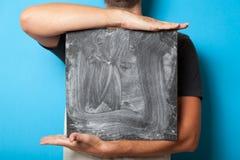 Tablero del concepto, haciendo publicidad de la presentación Tarjeta del negro del cartel de la muestra, cartelera de la tiza del imagen de archivo libre de regalías
