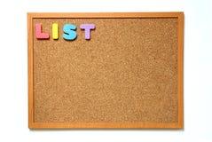 Tablero del corcho con la fraseología de la lista Foto de archivo libre de regalías