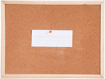 Tablero del corcho y blanco del papel en blanco Imagen de archivo libre de regalías