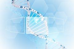 Tablero del espacio en blanco de la información 3d DNA humana Fondo Fotos de archivo libres de regalías