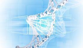 Tablero del espacio en blanco de la información 3d DNA humana Fondo Fotografía de archivo libre de regalías