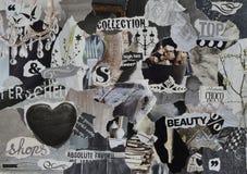 Tablero del humor, hoja de la atmósfera del collage con los elementos de la elegancia con blanco, negro y gris, y el azul con el  Fotografía de archivo libre de regalías