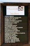 Tablero del menú de los Tapas Foto de archivo libre de regalías