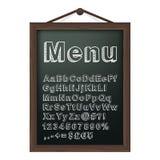 Tablero del menú del café con alfabeto de la tiza Imágenes de archivo libres de regalías