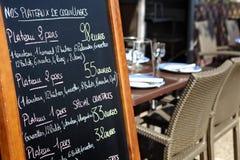 Tablero del menú del restaurante de París Imágenes de archivo libres de regalías