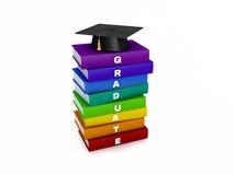 Tablero del mortero en la pila de libro del graduado del arco iris aislado en blanco Imagenes de archivo