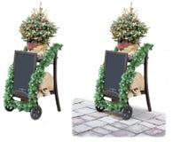 Tablero del precio de la calle de la Navidad con el árbol de navidad Imagen de archivo libre de regalías