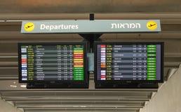 Tablero del vuelo del aeropuerto en el aeropuerto de Ben Gurion Foto de archivo