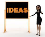 tablero e IDEAS del negro del presente de la mujer 3d escritos en él concepto Fotografía de archivo