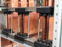 Tablero eléctrico del poder más elevado con las barras de cobre Fotografía de archivo