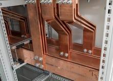 Tablero eléctrico del poder más elevado con las barras de cobre Imágenes de archivo libres de regalías