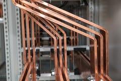 Tablero eléctrico del poder más elevado con las barras de cobre Imagenes de archivo