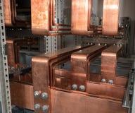 Tablero eléctrico del poder más elevado con las barras de cobre Imagen de archivo libre de regalías