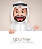 Tablero en blanco blanco que se sostiene sonriente feliz del hombre del carácter de Arabia Saudita del vector Imagen de archivo libre de regalías