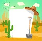 Tablero en blanco en desierto mexicano con el cactus, la pala y un sombrero Imagen de archivo
