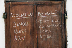 Tablero español del menú fotografía de archivo